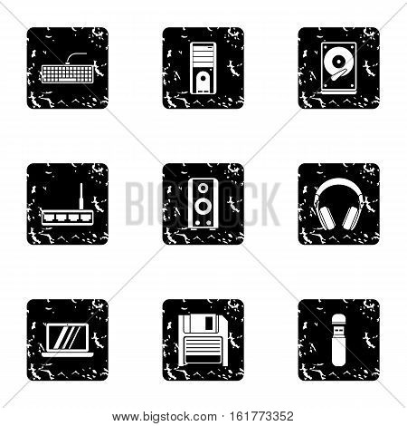 Computer protection icons set. Grunge illustration of 9 computer protection vector icons for web