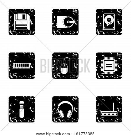 Computer data icons set. Grunge illustration of 9 computer data vector icons for web