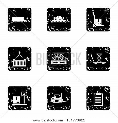 Cargo icons set. Grunge illustration of 9 cargo vector icons for web