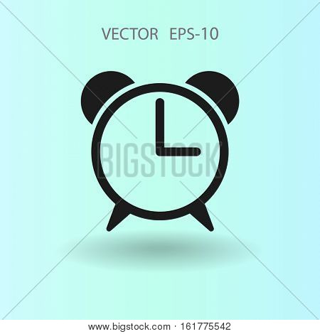 Flat icon of alarm clock. vector illustration