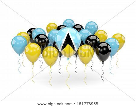 Flag Of Saint Lucia With Balloons