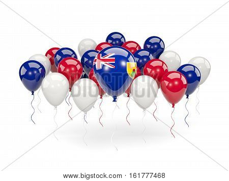 Flag Of Turks And Caicos Islands With Balloons