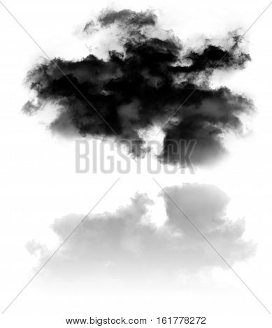 Single curvy cloud shape with reflection isolated over white background illustration nature and technology concept