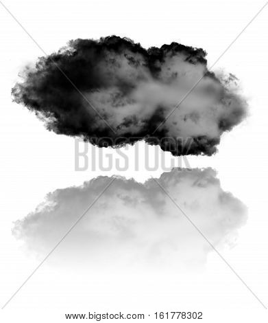 Cloud and its reflection isolated over white background 3D rendering illustration. Single cloud or inkblot shape