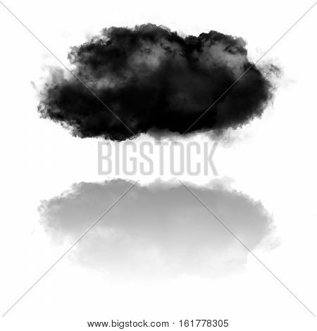 Cloud shape and its reflection isolated over white background illustration. Smoke cloud over mirror 3d