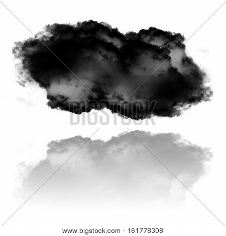 Realistic black cloud shape with reflection isolated over white background 3D rendering illustration design elements