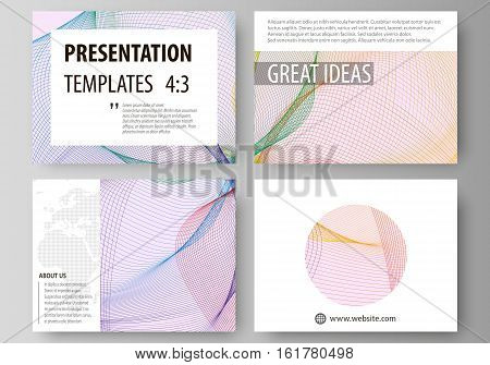 Set of business templates for presentation slides. Easy editable abstract vector layouts in flat design. Colorful decoration with waves forming abstract beautiful background