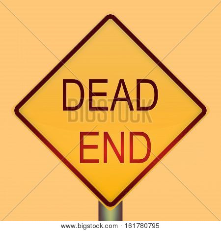 Dead End Warning Traffic Sign On White Background.