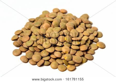 Pile Of Dehydrated Lentils Isolated On White Background