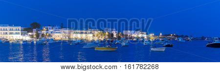 Blue hour at Alyki village in Paros island in Greece.