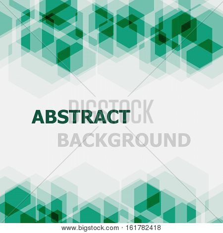 Abstract green hexagon overlapping background, stock vector
