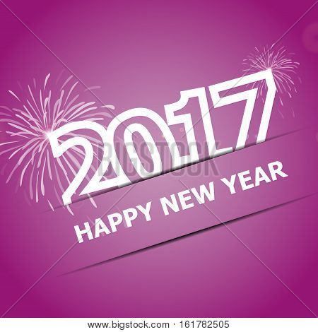 2017 Happy New Year on pink background, stock vector