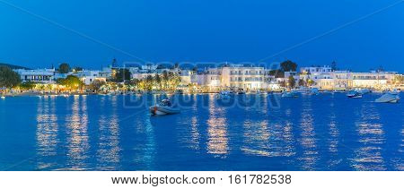 Alyki local village at Paros island in Greece at blue hour.