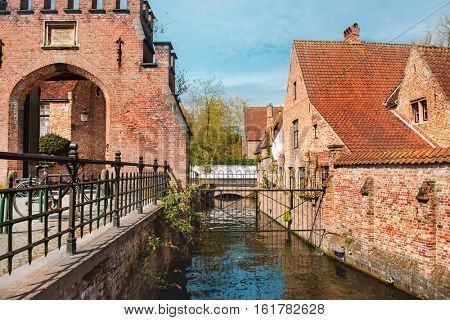 Old Sluice House (Sashuis),  a protected monument  in Minnewaterpark in Bruges, Belgium