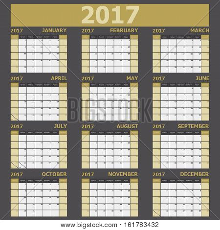 Calendar 2017 week starts on Sunday (yellow tone), stock vector