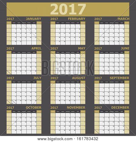 Calendar 2017 week starts on Sunday (yellow tone), stock vector