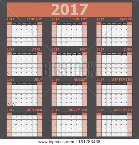 Calendar 2017 week starts on Sunday (orange tone), stock vector