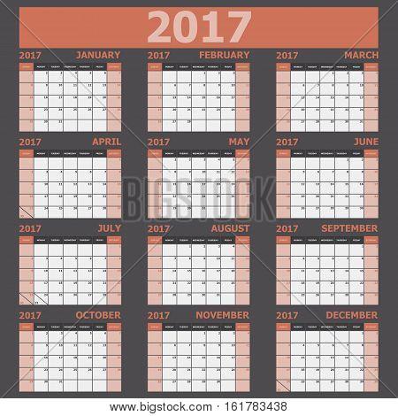 Calendar 2017 week starts on Sunday (orange tone), stock vector