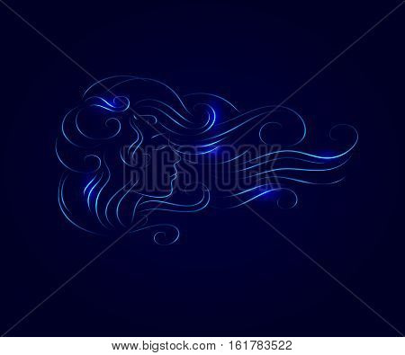 vector illustration silhouette of a girl with developing thick hair glowing against the dark blue background. Eyes closed she dozing sleep dreaming