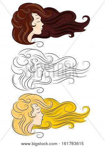 vector set silhouette of a girl with developing thick hair different color isolated on white background. Eyes closed she dozing sleep dreaming