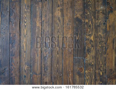 Old, shabby and vintage floor. Wooden brown planks texture.