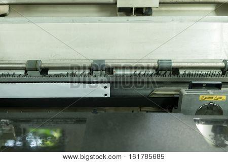 Old dirty dot matrix printer close up