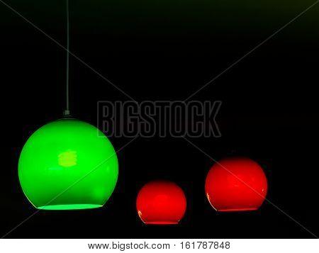colorful Round stylish lampshade on dark background