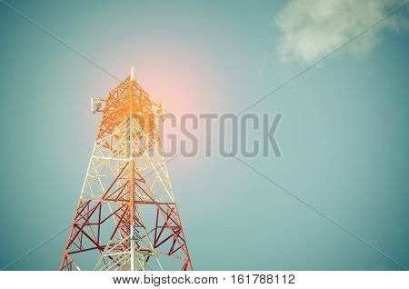 Copy Space Of Telecommunication Tower Tv And Radio Antenna Signal