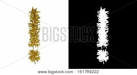 Exclamation Mark Symbol Christmas Tinsel With Alpha Mask Channel For Clipping - 3D Illustration