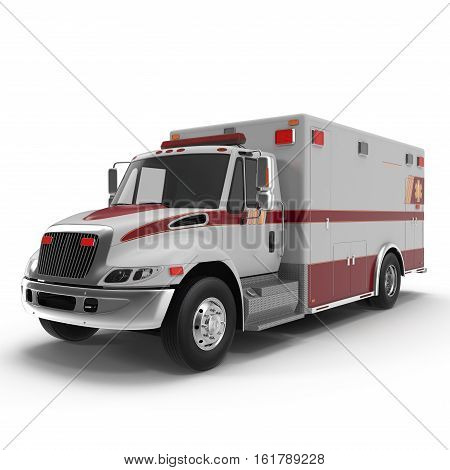 Emergency ambulance car isolated on white Background. 3D Illustration
