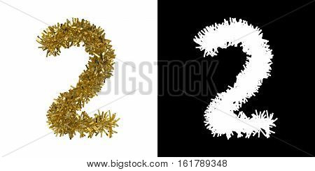 Number Two Christmas Tinsel With Alpha Mask Channel For Clipping - 3D Illustration