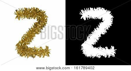 Letter Z Christmas Tinsel With Alpha Mask Channel For Clipping - 3D Illustration