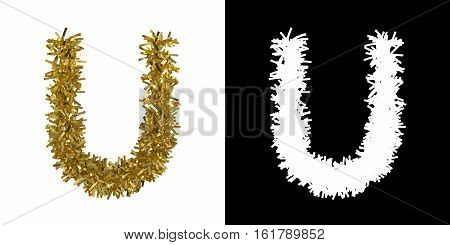 Letter U Christmas Tinsel With Alpha Mask Channel For Clipping - 3D Illustration