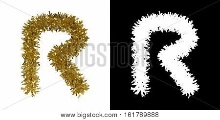 Letter R Christmas Tinsel With Alpha Mask Channel For Clipping - 3D Illustration