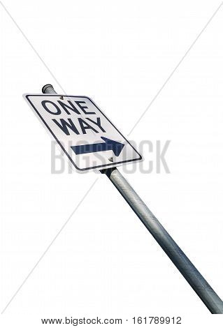 One way road sign isolated on white background