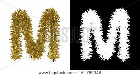 Letter M Christmas Tinsel With Alpha Mask Channel For Clipping - 3D Illustration