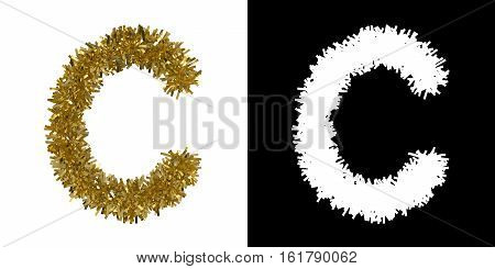Letter C Christmas Tinsel With Alpha Mask Channel For Clipping - 3D Illustration