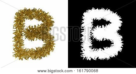 Letter B Christmas Tinsel With Alpha Mask Channel For Clipping - 3D Illustration