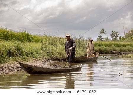 Everyday Life In Madagascar Countryside On River