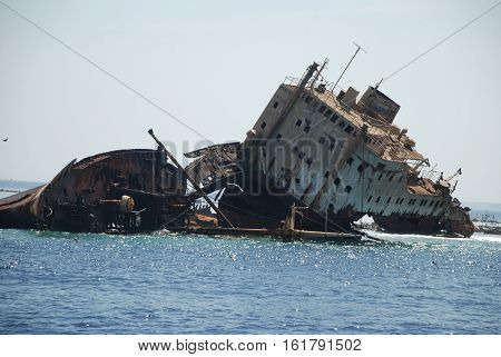 Russian ship has sat down on a bank during the Second World War. Island the Tyrant. Charm-ale-sheikh. Egypt