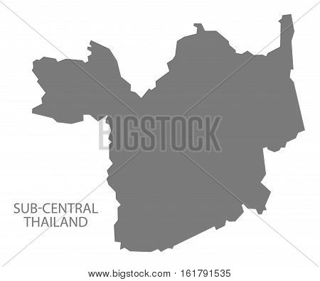 Sub-Central Thailand Map grey country silhouette illustration
