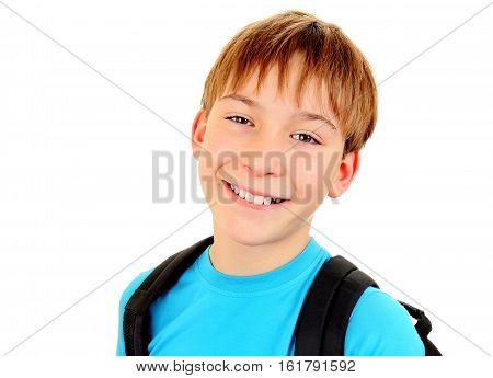 Cheerful Kid Portrait Isolated on the White Background
