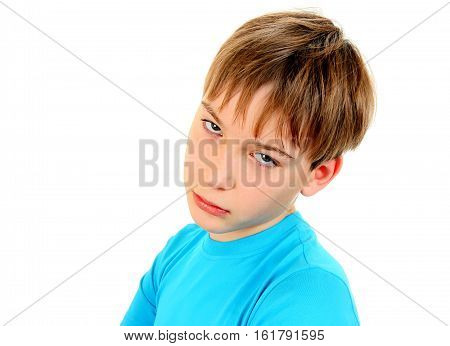 Sad Kid Portrait on the White Background