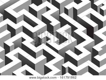 Black and white maze labyrinth - isometric endless pattern - horizontal version