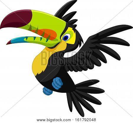 Vector illustration of Cartoon funny toucan flying