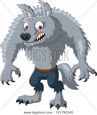 Vector illustration of Cartoon angry werewolf character