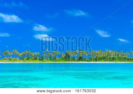 Beautiful tropical Maldives island with beach , sea , and coconut palm tree on blue sky for nature holiday vacation