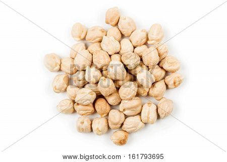 Pile of Garbanzo beans isolated on white background