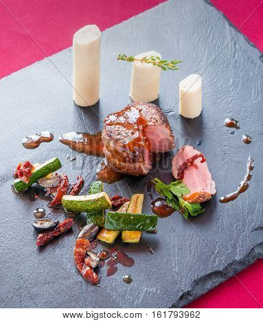 Fillet Of Beef With Zucchini And Palm Hearts