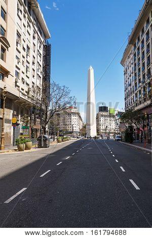 Obelisk from Avenida Roque Saenz Pena in Buenos Aires